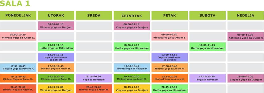 Redovni casovi joge u Beogradu -  Surja joga studio - Raspored za salu 1