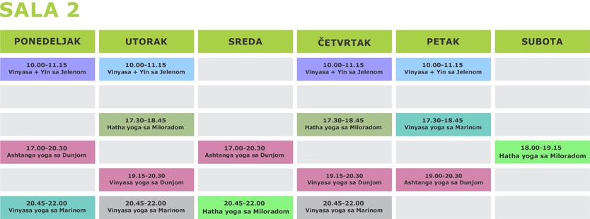 Redovni časovi joge u Beogradu - Surya yoga studio - Raspored Sala 2